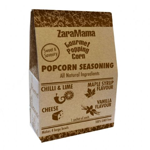 ZaraMama Mixed Popcorn Seasoning 40g - Chilli Lime, Maple Syrup, Cheese & Vanilla